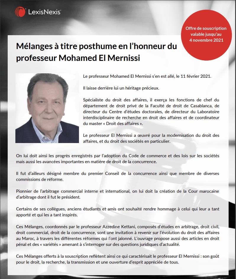 Mélanges à titre posthume en l'honneur du professeur Mohamed El Mernissi